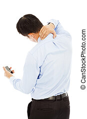 businessman holding a phone and her neck with pain