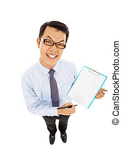 professional businessman hold a record document