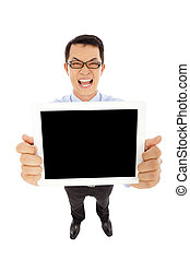 happy businessman display the tablet