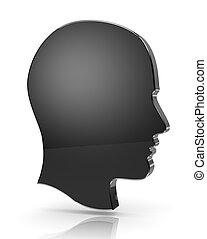 Man Head Profile 3D Silhouette on White Background with...