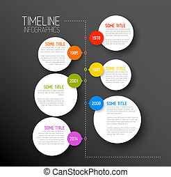 Infographic dark timeline report template - Vector dark...