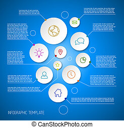 Infographic blue report poster with circles - Vector...