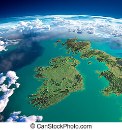 Fragments of the planet Earth. Ireland and UK - Highly...