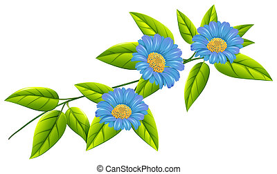 Blue flowers with green leaves - Illustration of the blue...