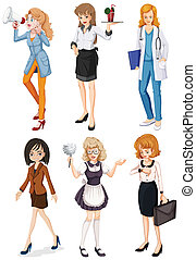Women with different professions - Illustration of the women...