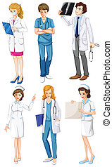 Doctors and nurses - Illustration of the doctors and nurses...