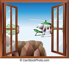 An open window with a view of the chopper