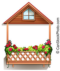 A wooden porch with plants - Illustration of a wooden porch...