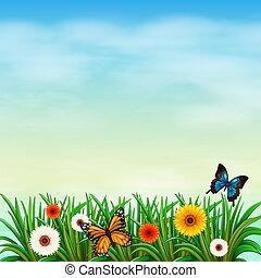 A flower garden with butterflies - Illustration of a flower...