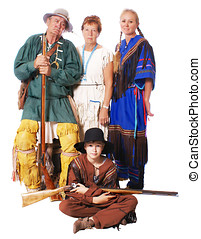 Family of mountain fur trappers - Family reenacting...