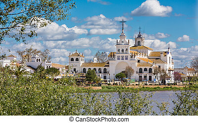 El Rocio - View of El Rocio and lake, Andalucia, Spain