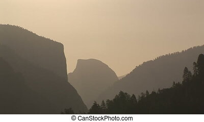 Half Dome at sunrise, Yosemite National Park - Half Dome and...