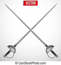 Pair of Fencing Rapiers Realistic vector Illustration - Pair...