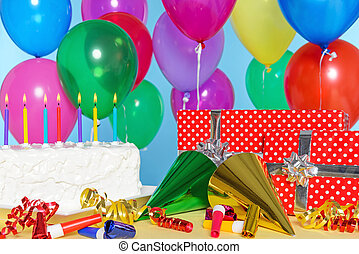 Birthday party still life with cake, balloons, presents,...