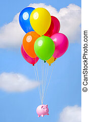 Piggy Bank floating through the sky on balloons