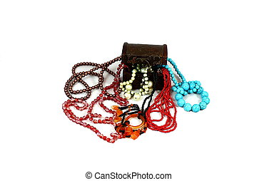 multicolored jewelery - On a white background brown box near...