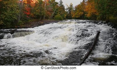 Autumn Bond Falls Flow Loop - Whitewater cascades over rock...