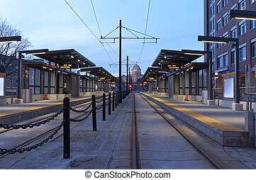 Saint Paul Light Rail Station and Capitol - Light rail...