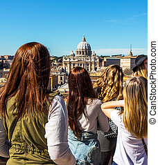 italy, rome, st peters basilica seen from castel santangelo...