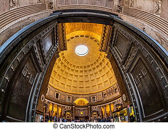 italy, rome, pantheon. interior shot of the ancient dome