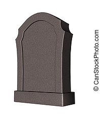 grave stone on white background - 3d illustration