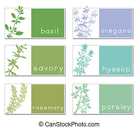 Titled Stickers With Herbs - Set of six banners with...