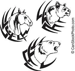 animal head tattoos - Animal head tattoos. Black and white...