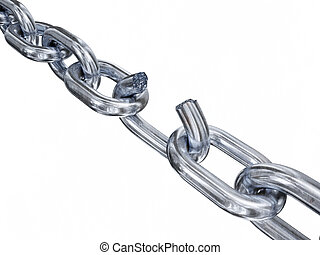 Breaking chain - Very high resolution 3d rendering of a...
