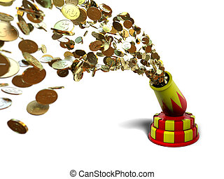 Money cannon - Very hihgh resolution rendering of a money...