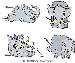 cómico, elefante, atletas