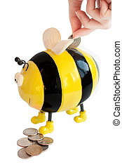bee moneybox - photo of the isolated on white bee moneybox...