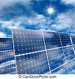 Solar panels - Very high resolution 3d rendering of solar...