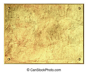 Old brass plaque - Very high resolution 3d rendering of an...
