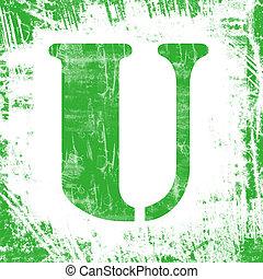 Single Letter U Stamp, Grunge Design - Letter U in a series...