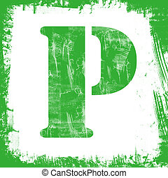 Single Letter P Stamp, Grunge Design - Letter P in a series...