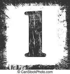 Single Number 1 Stamp, Grunge Design - Number 1 in a series...