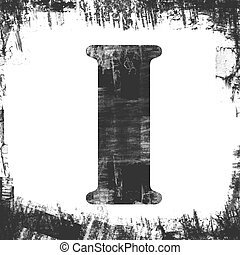 Single Letter I Stamp, Grunge Design - Letter I in a series...