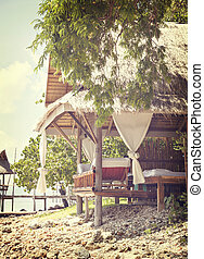Tropical beach hut - Image of a bamboo hut on a tropical...