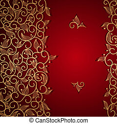 Red invitation with gold lace floral ornament - Red...