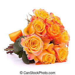 Yellow rose flower bouquet isolated on white background...