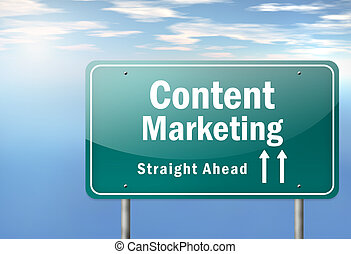 Highway Signpost Content Marketing - Highway Signpost with...