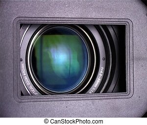 camera lens - hd-camcorder lens close-up with reflection...