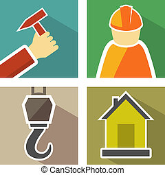 set construction icons - set icons with construction hook,...