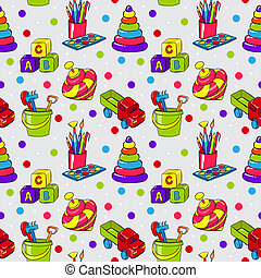 Seamless pattern with colorful childrens toys for playing