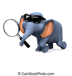 3d Elephant searching - 3d render of an elephant with a...