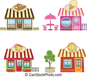 Shops - Cute bakery, coffee, pizza and ice cream shops Eps10...