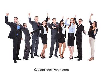 大きい, グループ, 興奮させられた, ビジネス, 人々