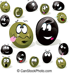 black and green olive cartoon with facial expression...