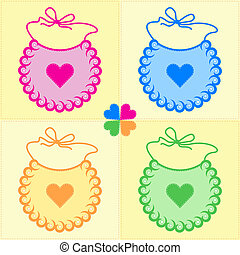 patchwork bibs - patchwork background with bibs and four...
