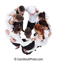 Camareros, camareras, posición, círculo